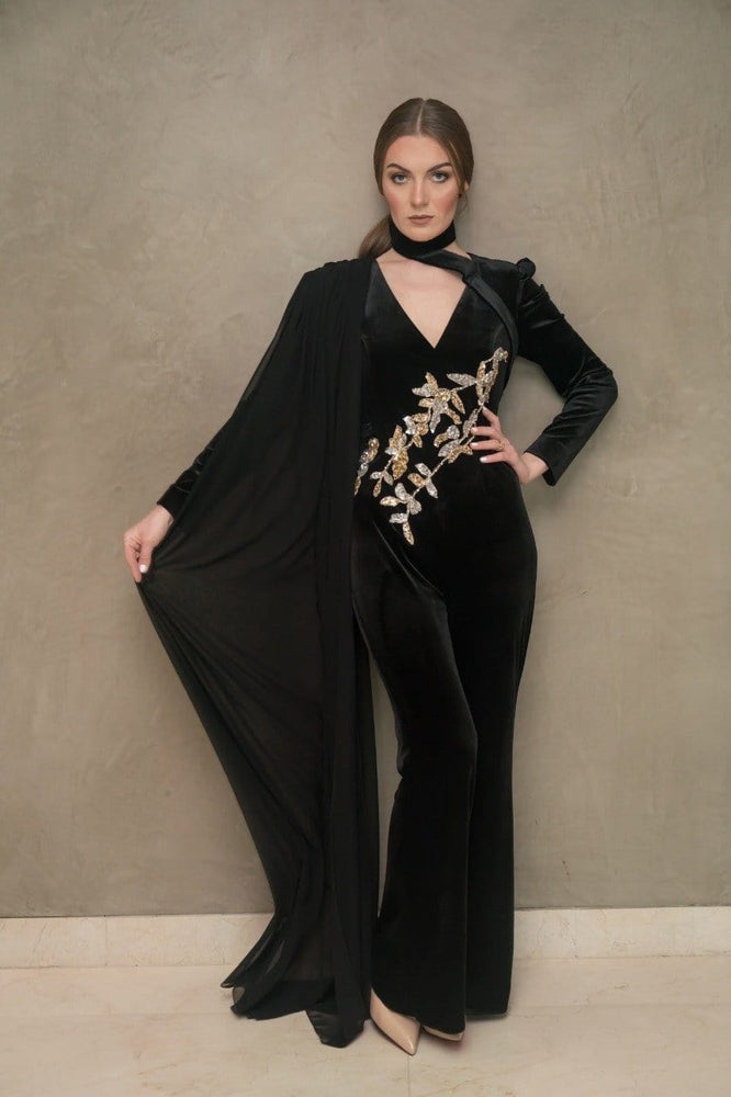 Black velvet jumpsuit with a silver -gold handmade embroidery exxab.com