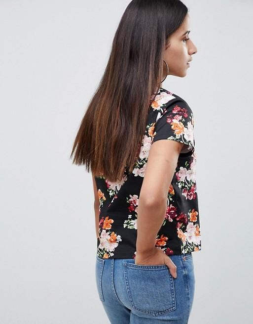 Flowered T-shirt for women, in floral print exxab.com