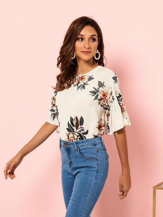 Women's Blouse Floral Pattern O Neck Flare Sleeve Top - exxab.com