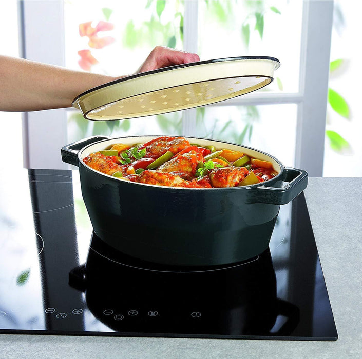 Pyrex SC4AC29 Oval Cast Iron Slow Cook Enameled Casserole, Black - exxab.com