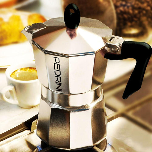 Pedrini 9082-3 Coffee Maker POLISHED ALUMI. 2 Cups Pakalite Black Handle - Safety Valve - Gift Box