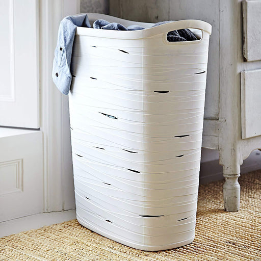 Curver Ribbon Laundry Hamper White 49L, 45.7x27xH59 cm