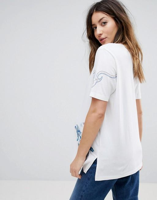 Pregnant women's shirt with floral embroidery exxab.com