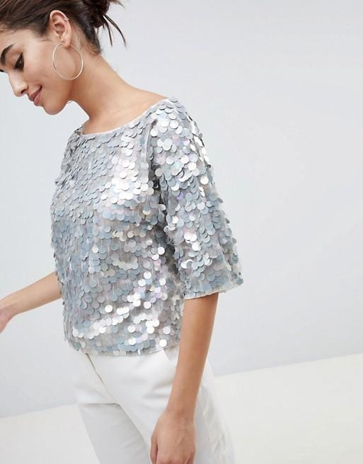 Silver sequin square t-shirt round neck