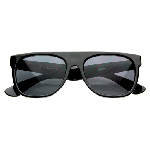 ZeroUV Celebrity Kanye West Super Flat Block Top Retro Horned Rim Sunglasses