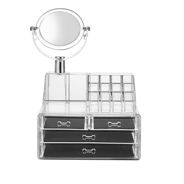 Makeup organizer with mirror, 4 drawer and 16 grid makeup - exxab.com