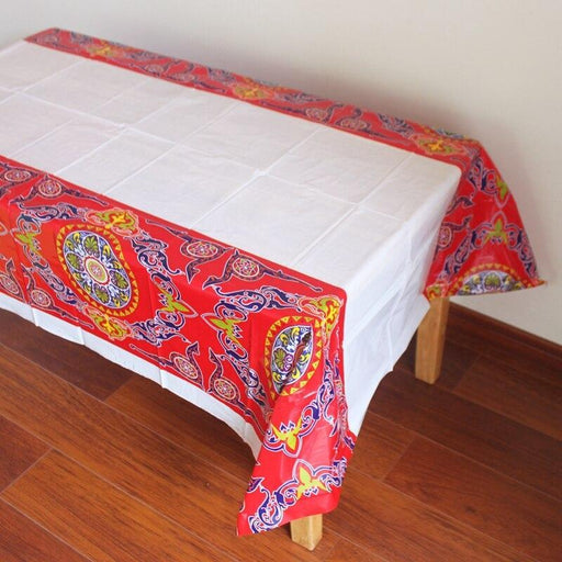 Ramadan decoration plastic tablecloth with floral pattern