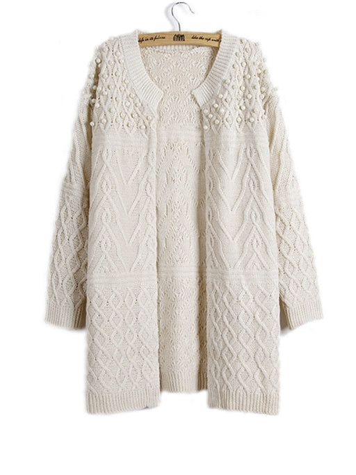 Women's pearl wool cardigan loose front