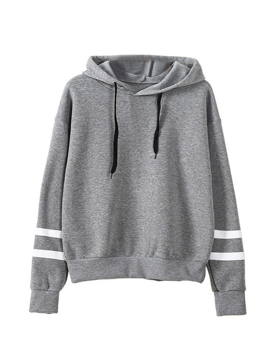Women's short hoodie striped sleeve in white color