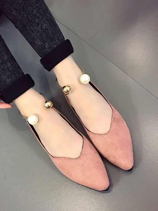 Women's Flats Solid Color Shoes With Pearl exxab.com