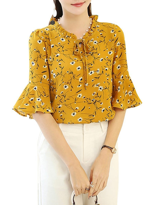 Women's Blouse Flare Sleeve V Neck Ruffles Floral Top - exxab.com