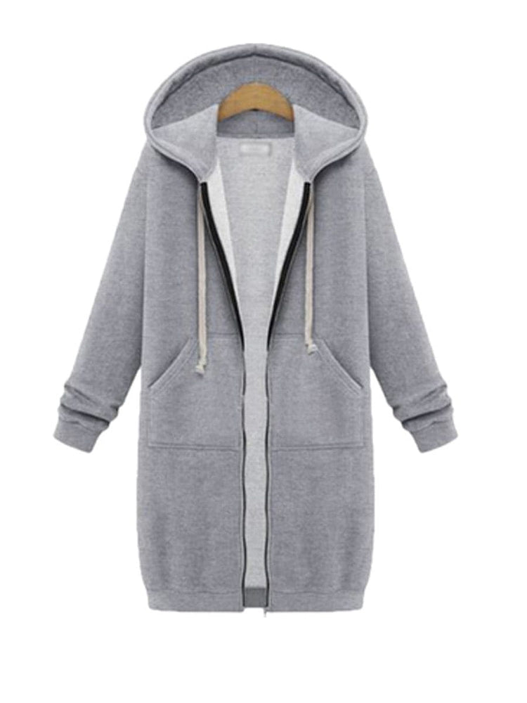 Women's zipper hoodie slim simple solid color fashion