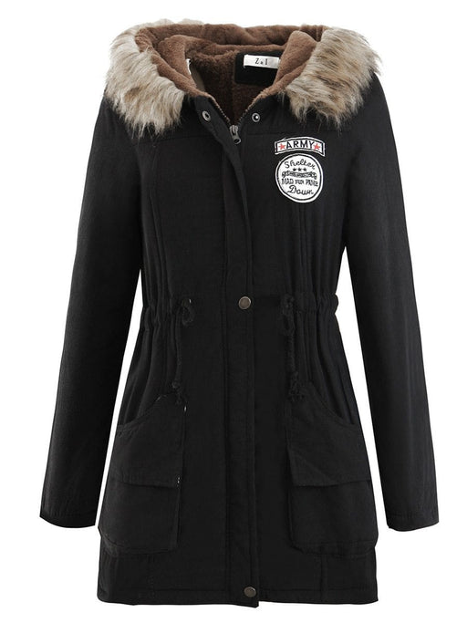 Women's winter quilted coat with fur hoodie