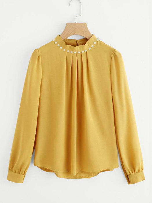 Women's Blouse Solid Color Long Sleeve Beading Chiffon Blouse - exxab.com