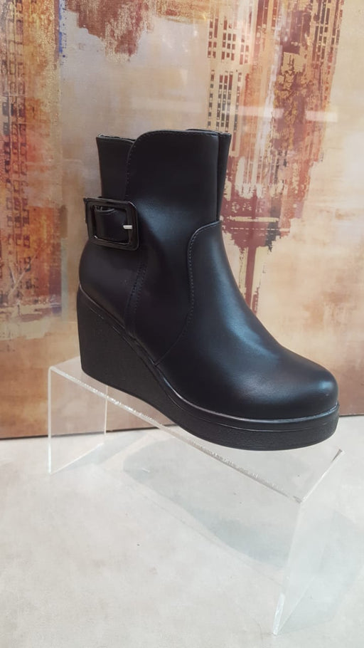 Women's Black Wedge Heel Winter Boots S9