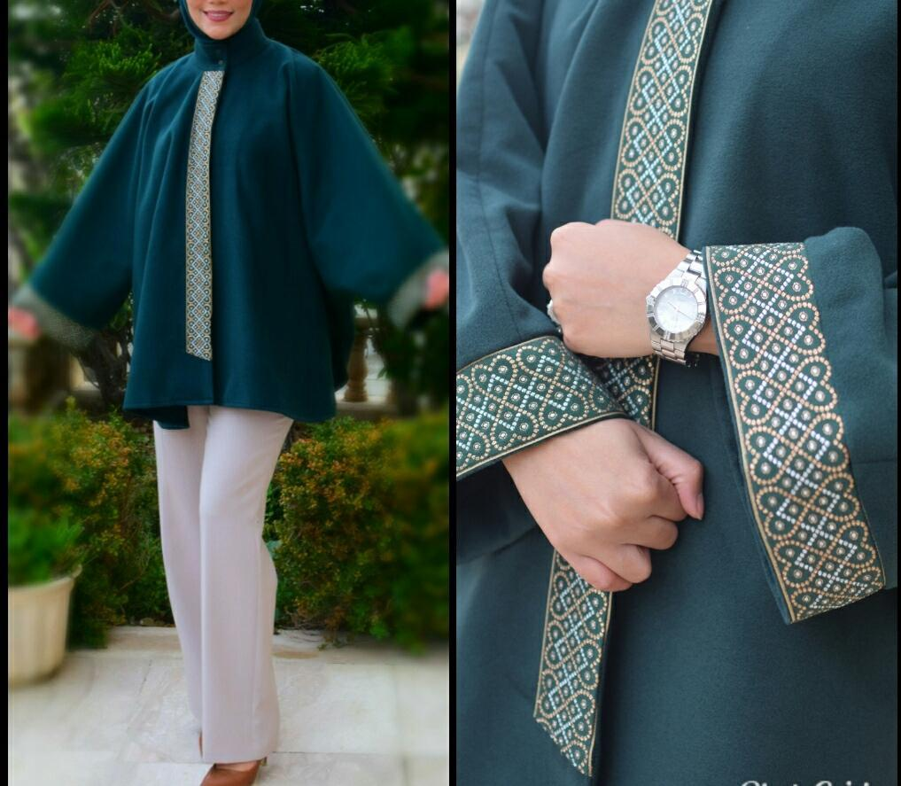 Elegant dark green cape designed with handmade golden embroidered exxab.com