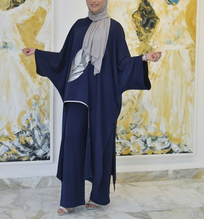 Dark blue abaya designed with silver print and wide pant exxab.com