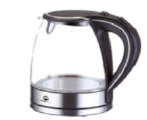 Home Electric KK-580 Glass Water Kettle 2200W 1.7L Black & Silver exxab.com
