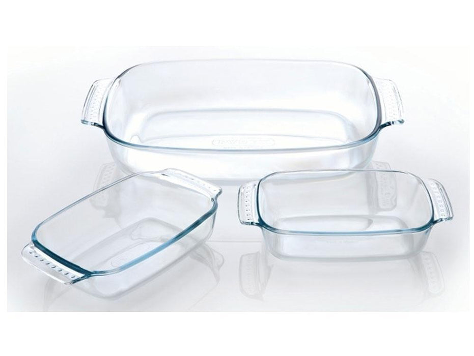 Pyrex 310S000 Rectangular Roaster Dish Set of 3 exxab.com
