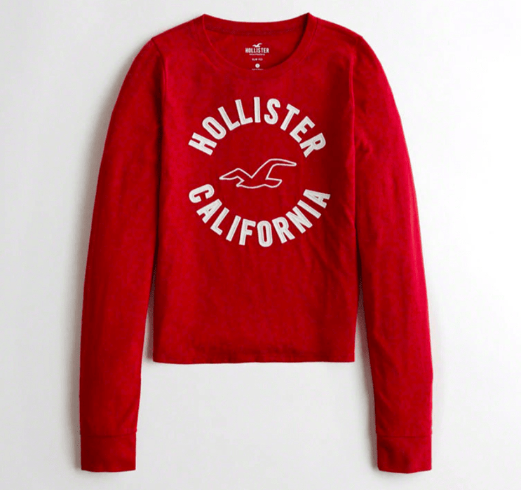 Hollister Logo Graphic Tee/Red exxab.com