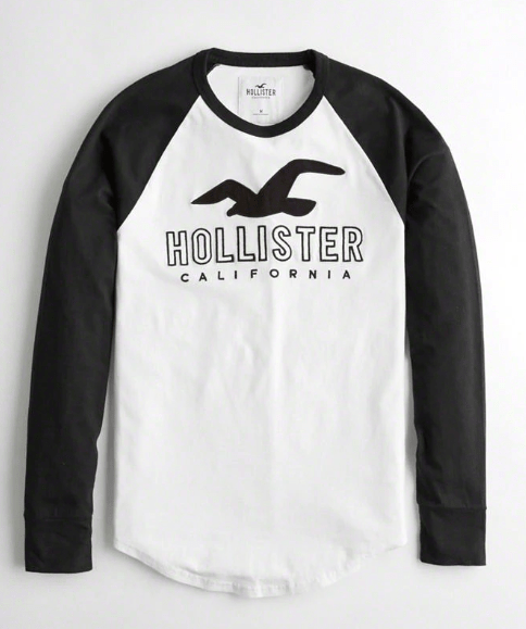 Hollister Mens Logo Graphic Tee with Long sleevs
