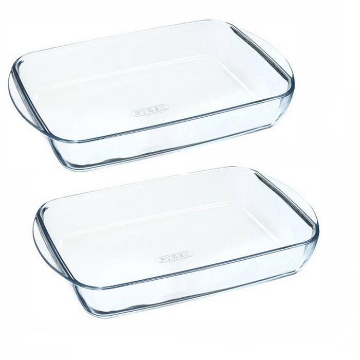 Pyrex 234B000 / 240B000 2 Piece Glass Rectangular Roasters, Clear exxab.com