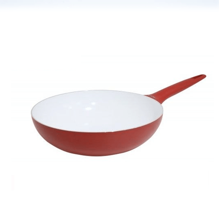 Pedrini 9641 Red Ceramic Wok  soft Touch Red Bakalite Handle 28 cm exxab.com