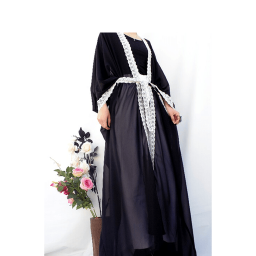 89ddf39e2fcd3 Elegant black chiffon Abaya with white special designs & belt exxab.com