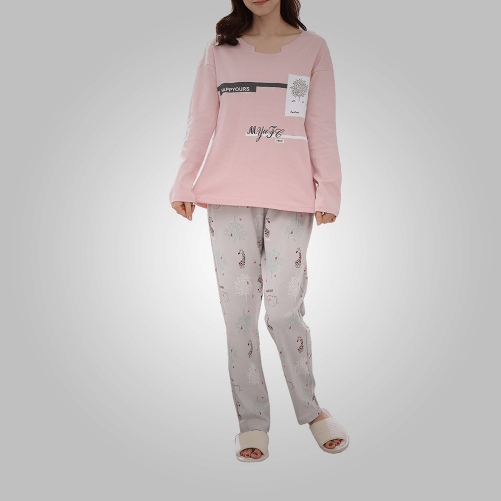 Women's pajama set long sleeve letter animal pattern faddish home pants suit
