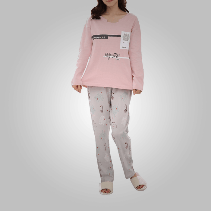 Women's pajama set long sleeve letter animal pattern faddish home pants suit exxab.com