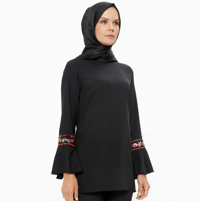Women's tunic long sleeve & crew neck top with embroidery designs exxab.com