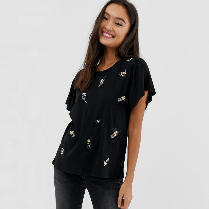 Pimkie ditsy floral embroidered T-shirt for women exxab.com