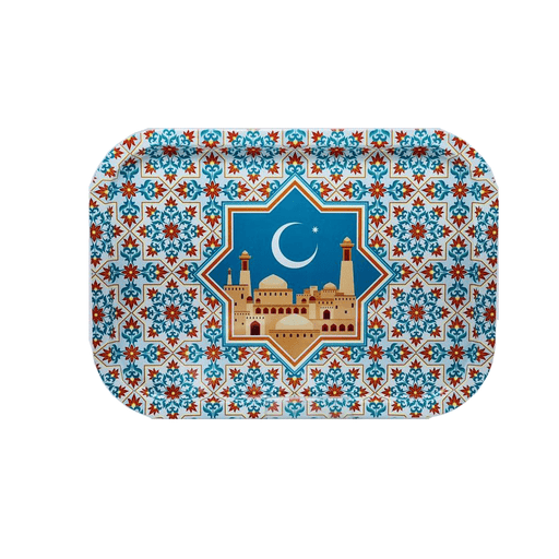 Ramadan matlic tray decorative with colorful mosuqe pattern - exxab.com