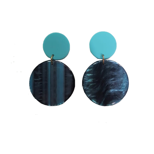 Turquoise Round Shell Earrings exxab.com
