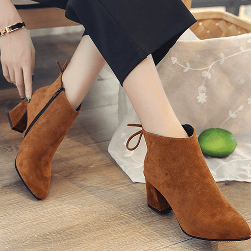 Women's ankle boots, formal shoes, solid color exxab.com