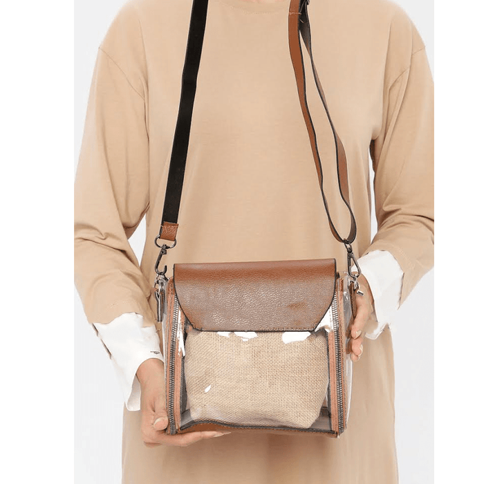 Women's Brown leather bag with modern design exxab.com
