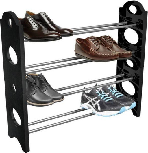 4 Layers Organizer metal rods stackable Shoe Rack