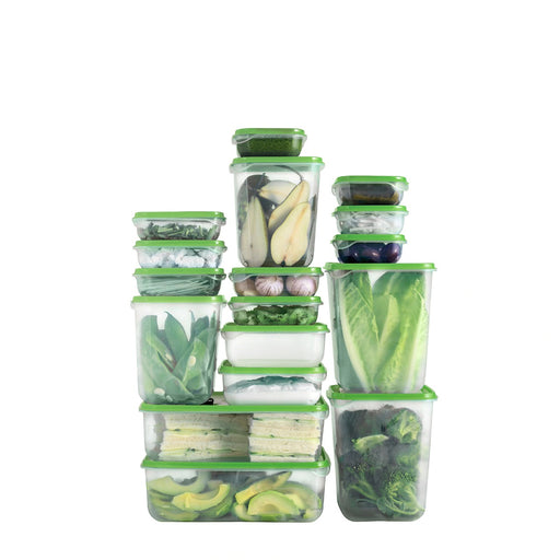 PRUTA Food Container Transparent & Green Set of 17 exxab.com