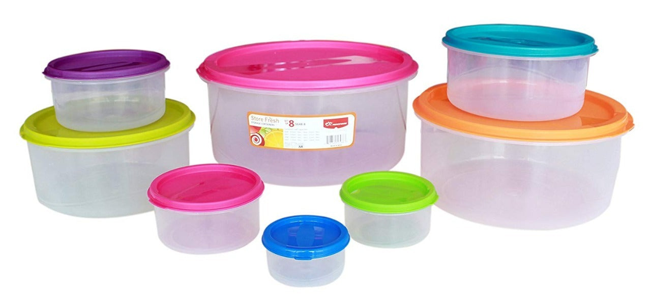 Princeware food storage containers with colored lids, set of 8 pcs exxab.com