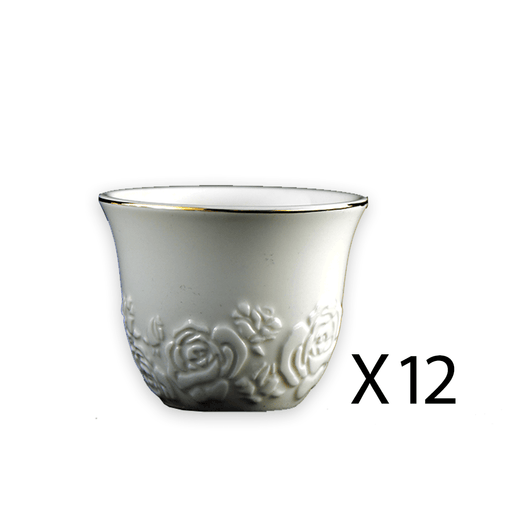 Arabic coffee cups white D2 12 pcs