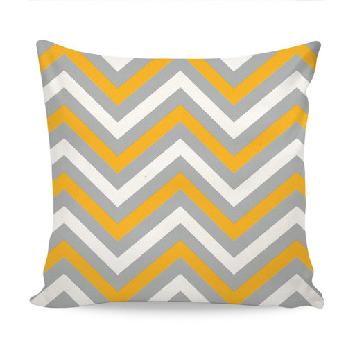 Home Decor Cushion With Grey & Yellow Chevron Design exxab.com