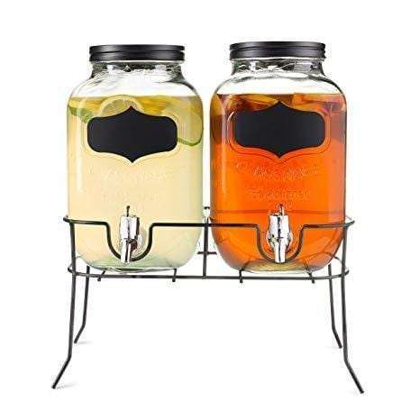 Double glass drink jar water dispenser with stand & faucets exxab.com