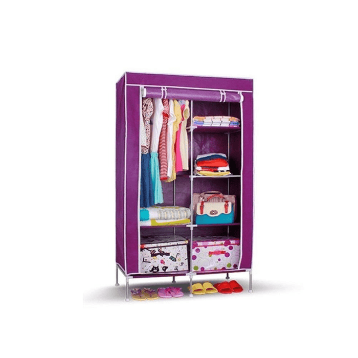 Fabric foldable wardrobe multipurpose clothes closet with 2 door and roll curtain, exxab.com