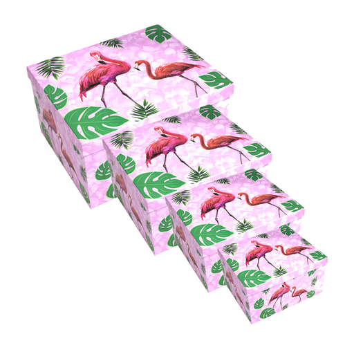 Flamingo Cartoon Box Set Of 4 Pieces exxab.com