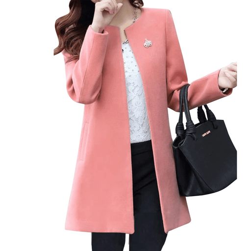 Women's Formal Coat/Neck Cozy Coat ,Solid Color