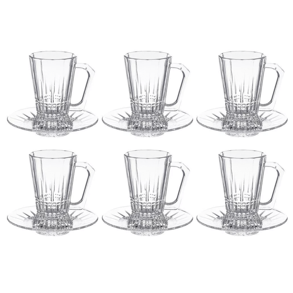 Luminarc 4807 Glass Elysees Tea Tumbler + Saucer exxab.com