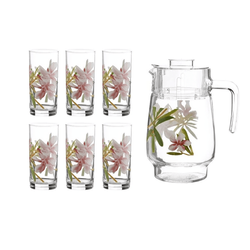 Luminarc L8279 freesia, water set of 7pcs water (Water jug & 6 cups) exxab.com