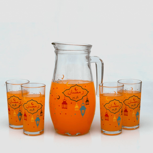 Ramadan's glass jug with 4 water cups, Set of 5 pieces