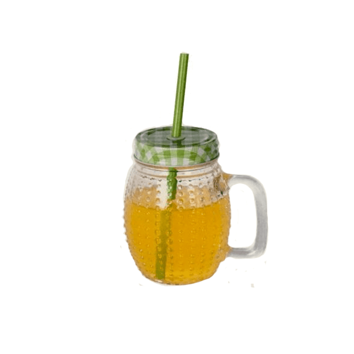 Glass Juice Mason Jar Tumbler Mug with Straws & lid 0.5L exxab.com