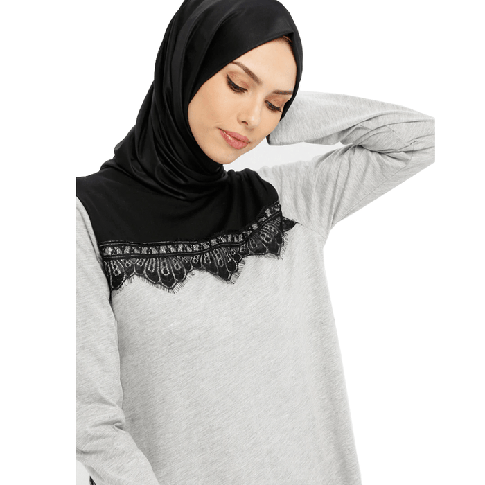 Women's viscose long sleeve & crew neck top with black lace exxab.com